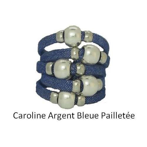 CAROLINE MONEY: leather and metal ring baguecuircarolineargentbleuepailletee