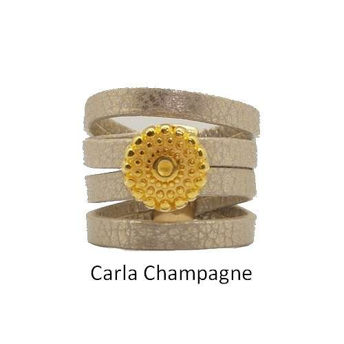 Carla: Leather ring baguecarlachampagne